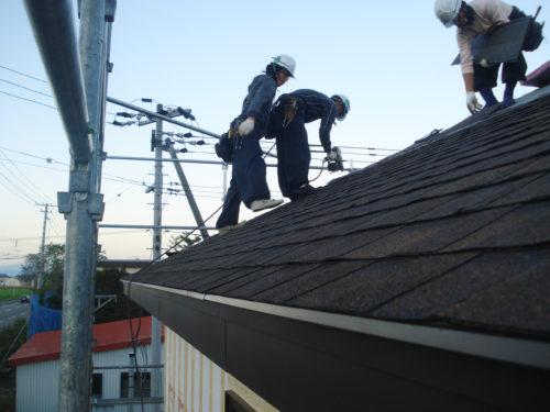 シングル屋根施工